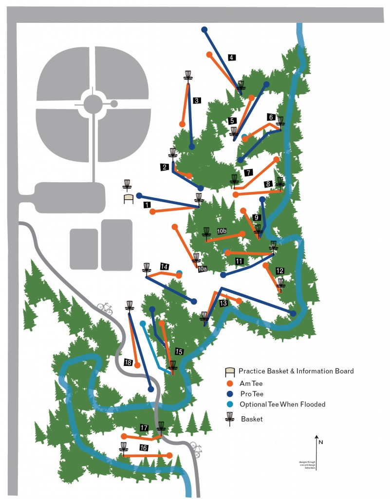 Map of City of Seward/Kiwanis 18-hole Disc Golf Course