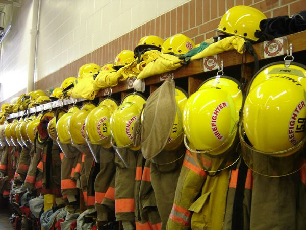 Seward Fire Department helmets and coats